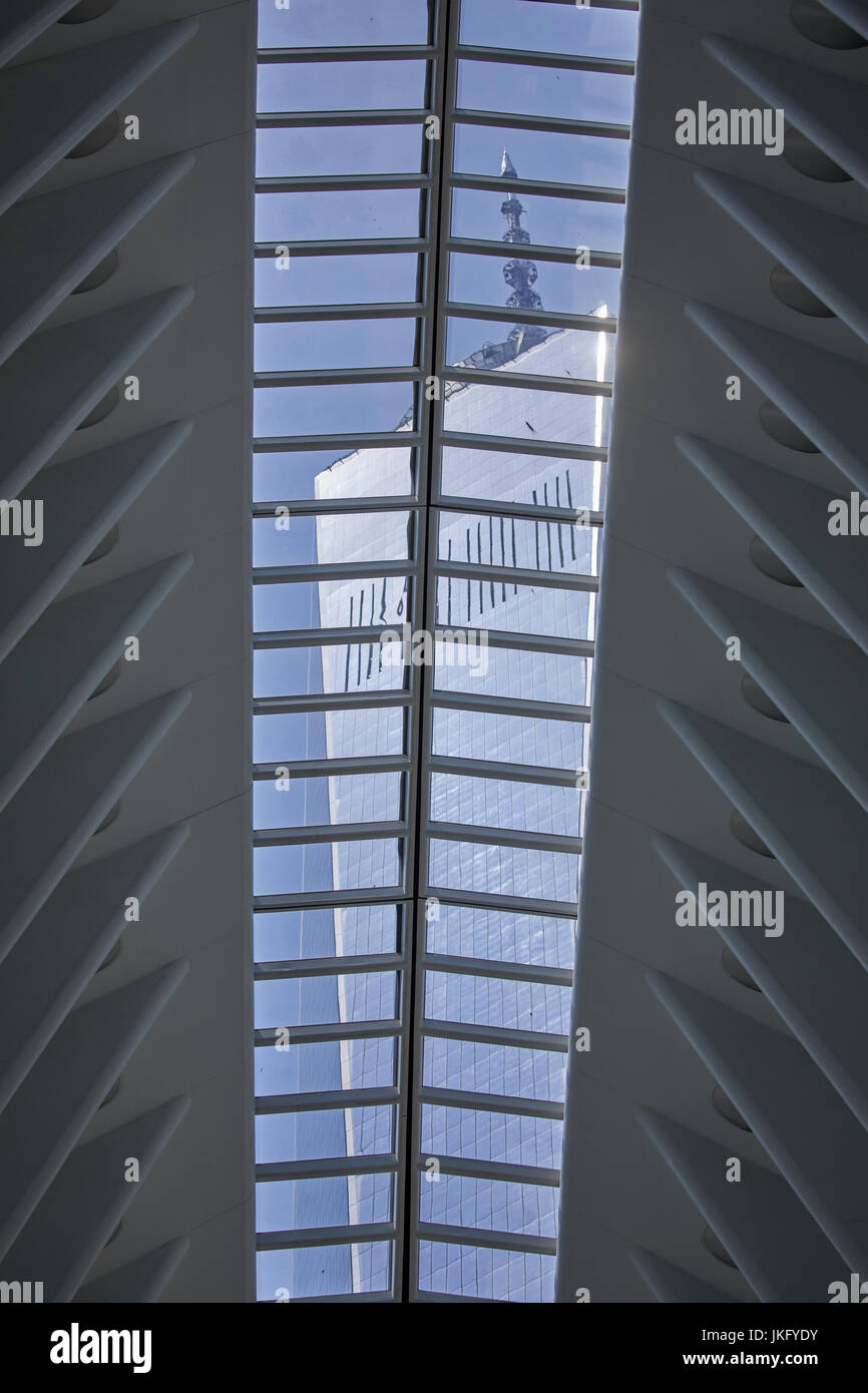 New York City, Manhattan, United States Westfield World Trade Center shopping center  showing One World Trade Center - Stock Image