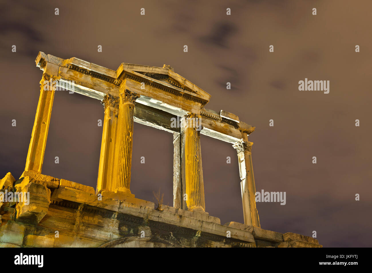 The upper part of the Hadrian's Arch, in the historic centre of Athens, Greece. - Stock Image