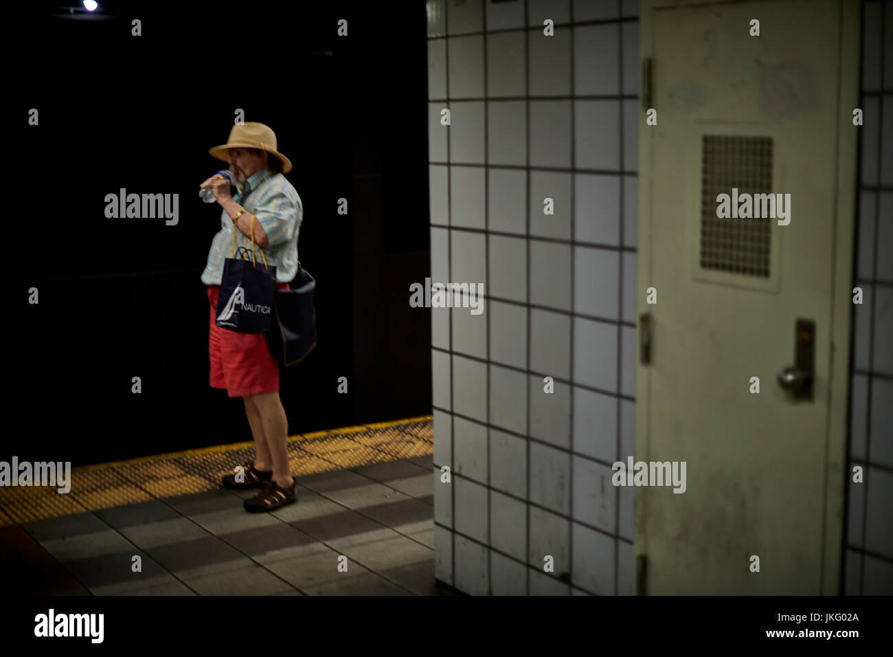 New York City, Manhattan, United States,   Times Square subway - Stock Image