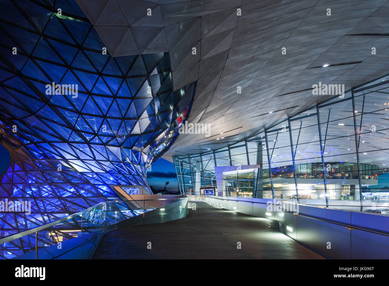 Germany, Bavaria, Munich, BMW Welt company showroom, dusk - Stock Image