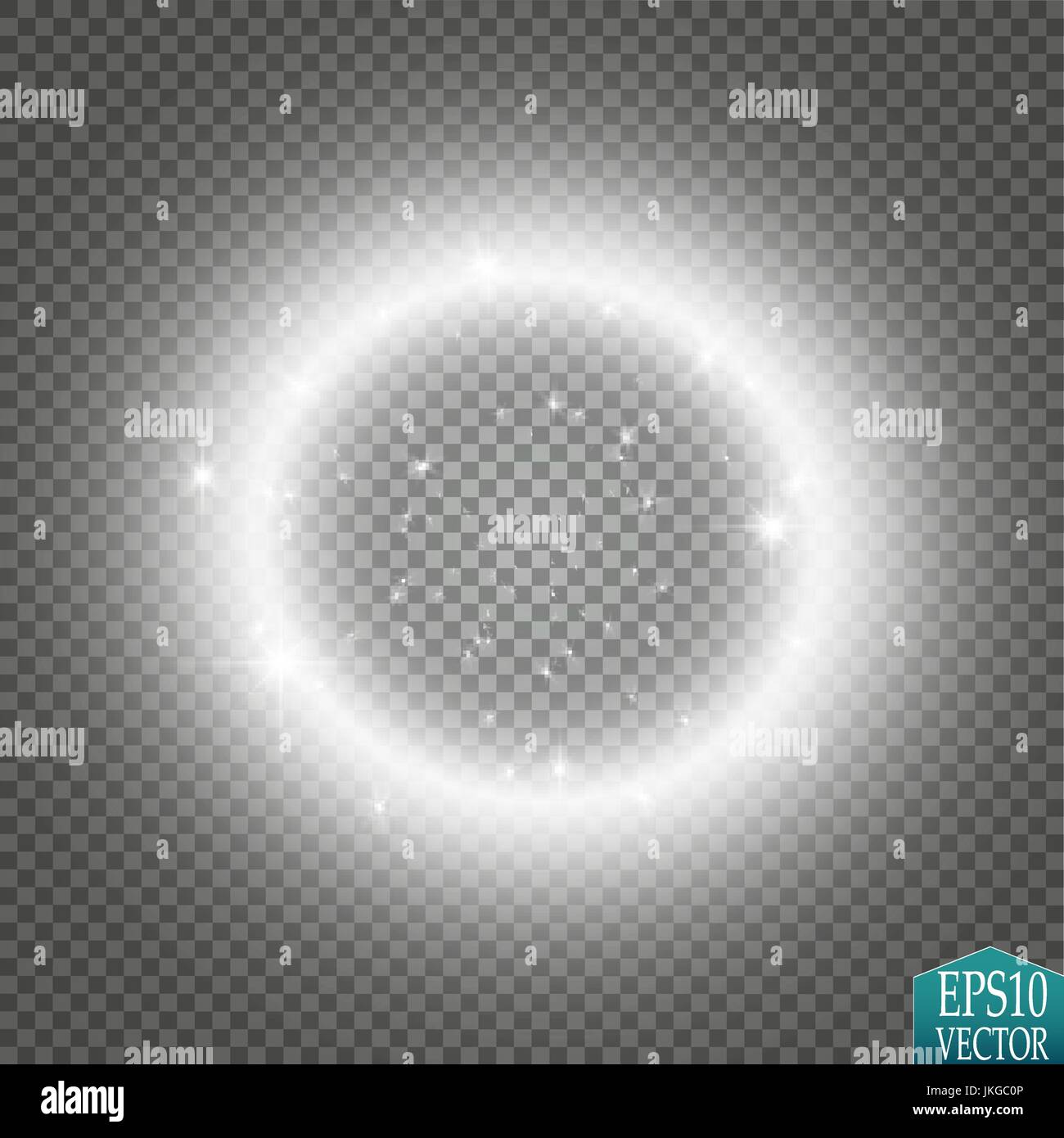 Vector light ring. Round shiny frame with lights dust trail ...