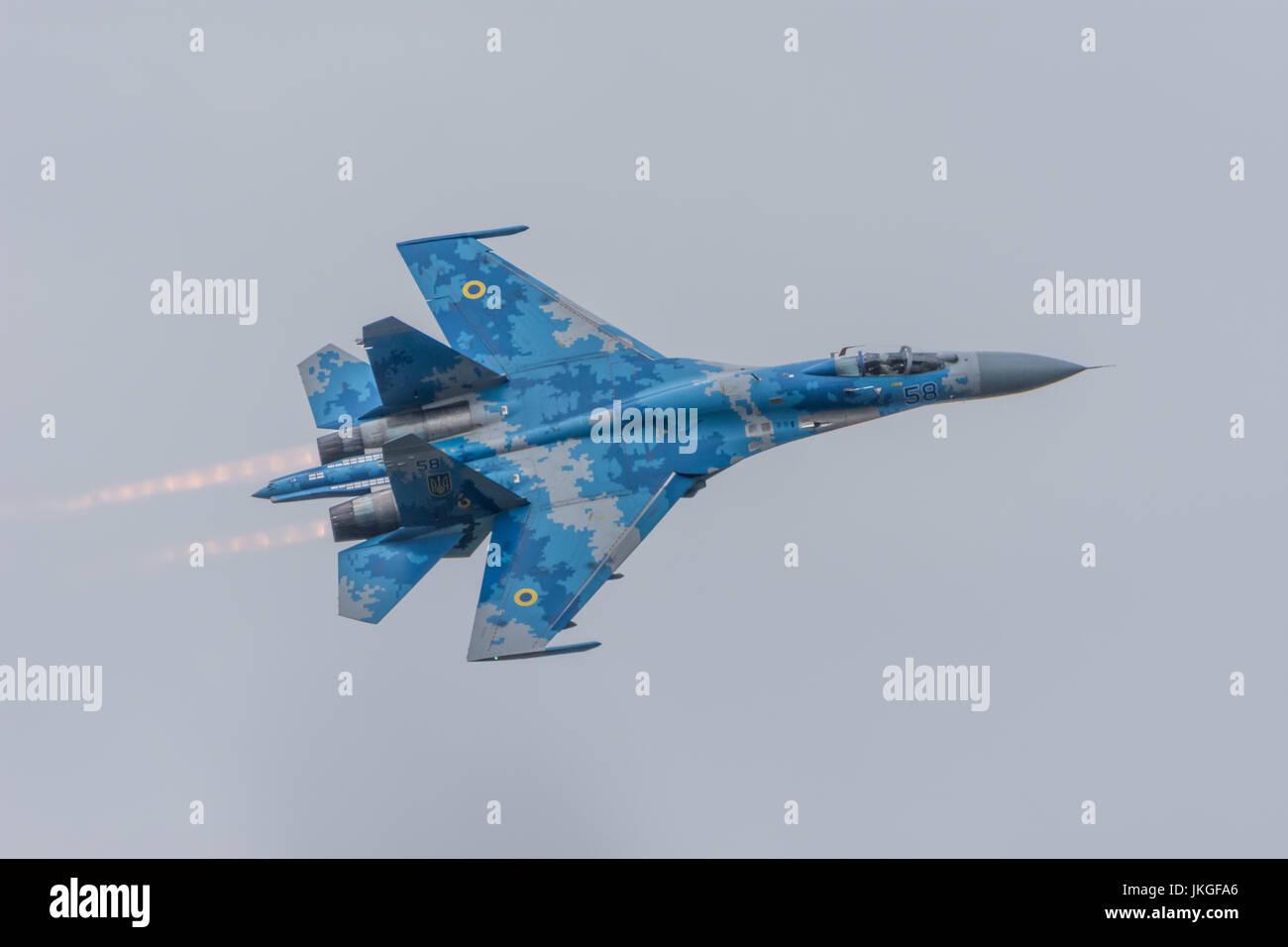 Ukrainian SU-27 Flanker RIAT 2017 - Stock Image