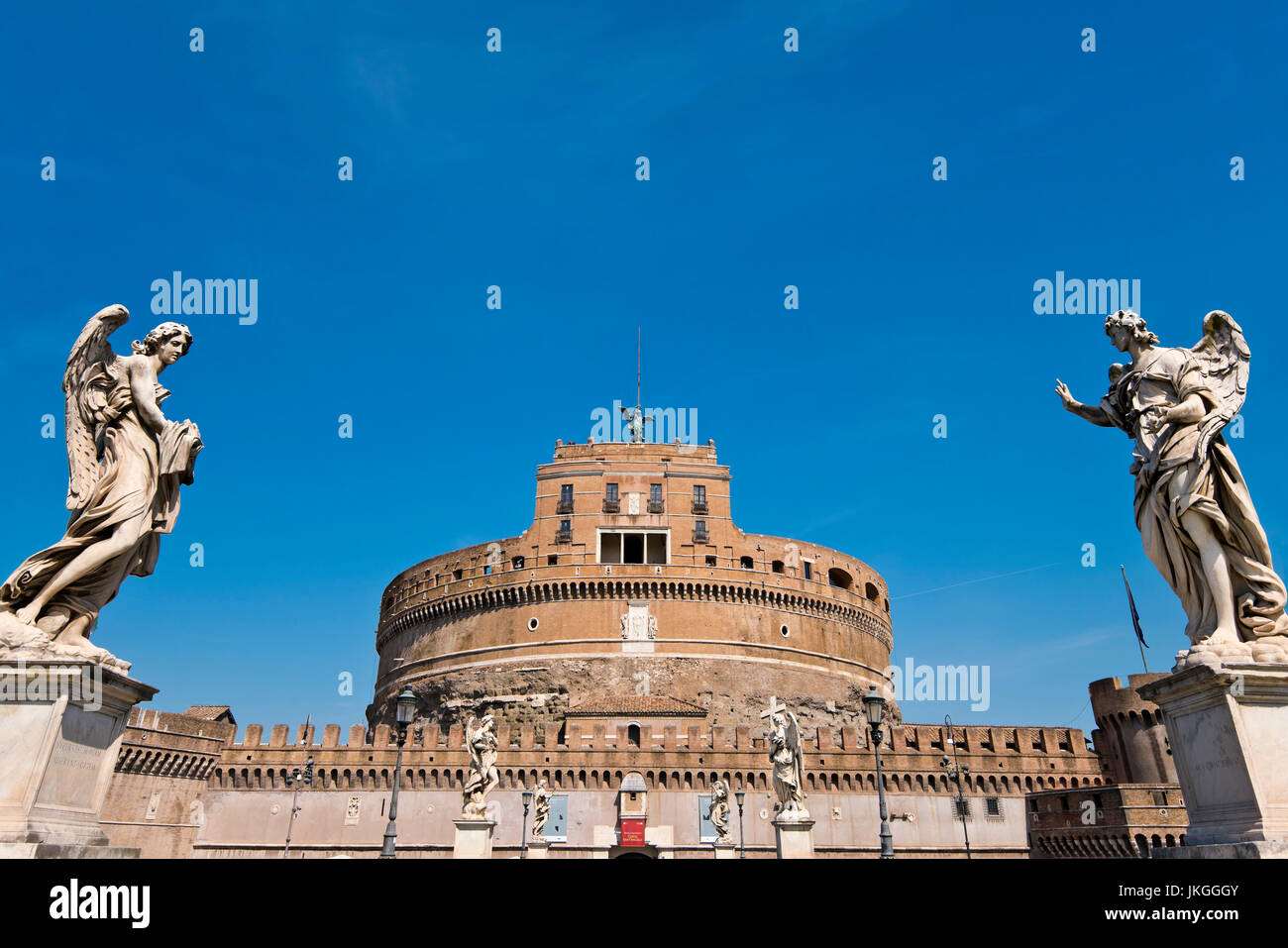 Horizontal view of the Angels on the bridge towards Castel Sant'Angelo in Rome. - Stock Image