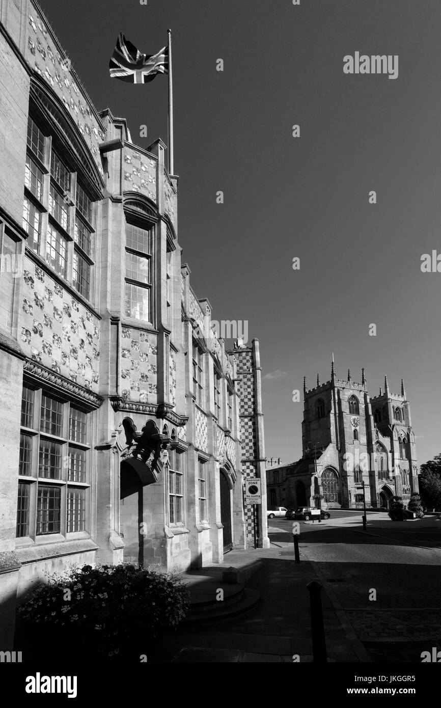 Exterior of the Town Hall and Trinity Guildhall, Kings Lynn town, Norfolk, England, UK - Stock Image