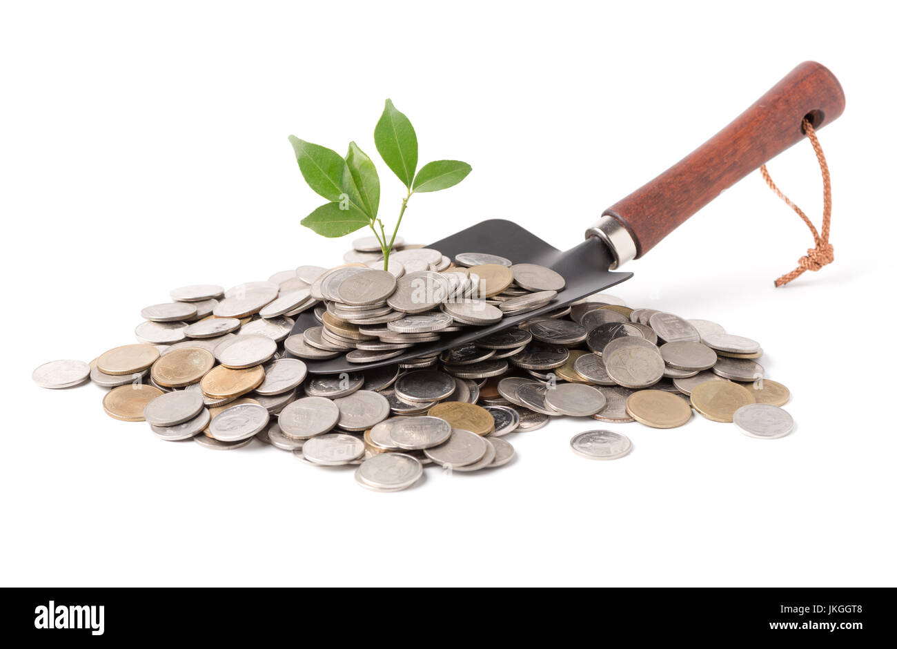 plant growing out of silver coins on gardening trowel isolated on white background, saving, investment and Interest - Stock Image