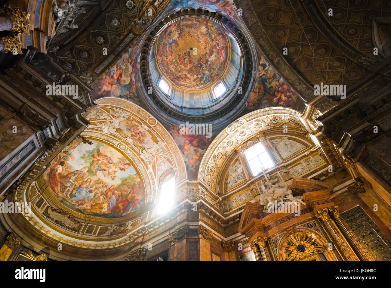 Horizontal view of the painted ceiling at Sant'Andrea dell Fratte church in Rome. - Stock Image