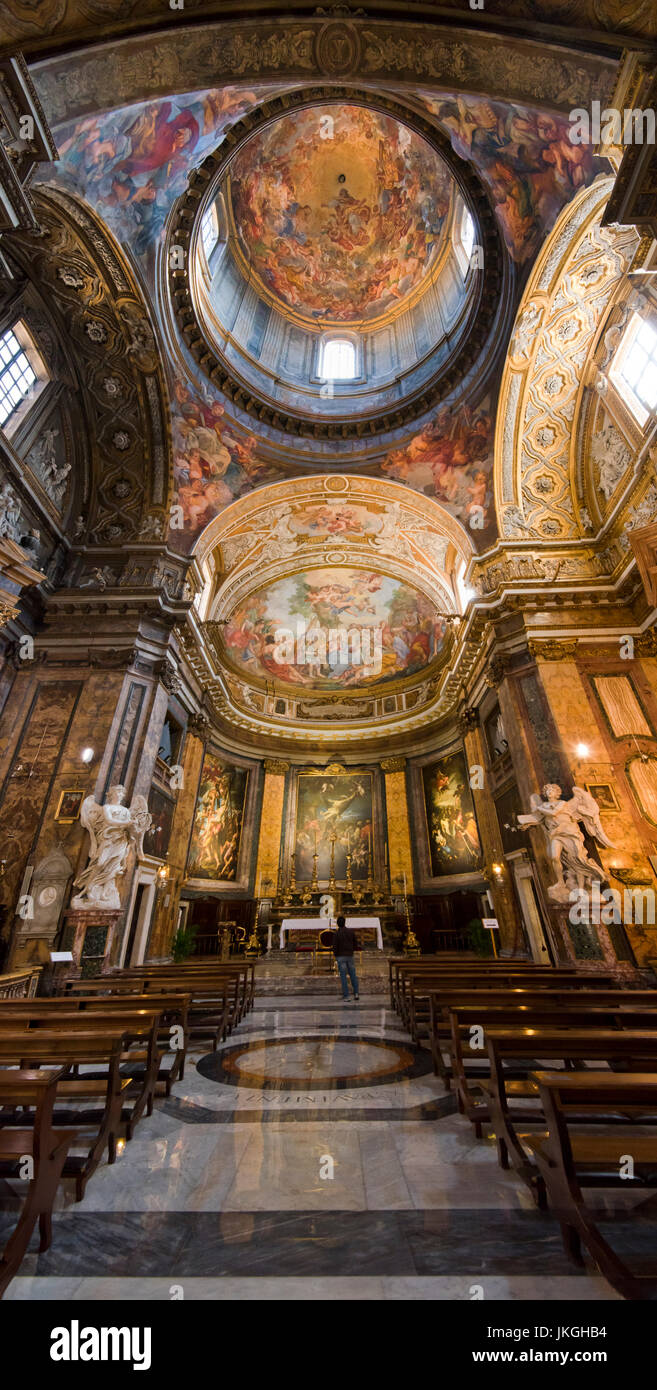 Vertical view of the altar at Sant'Andrea dell Fratte church in Rome. - Stock Image