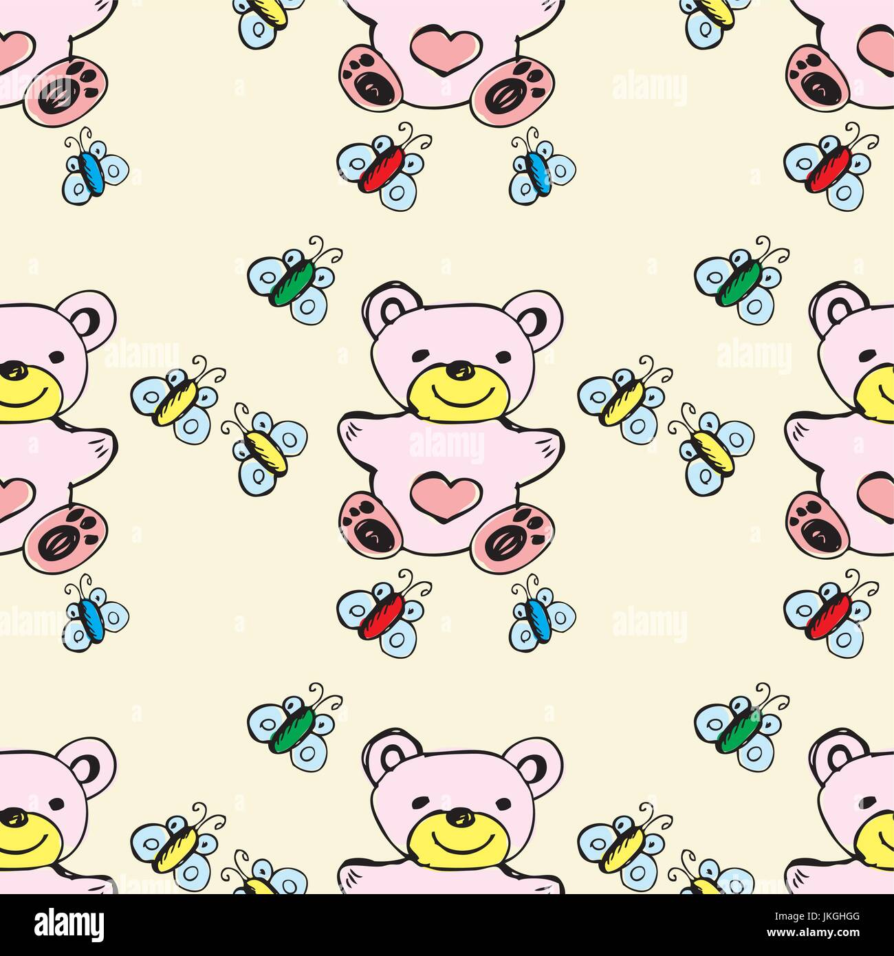 Seamless Pattern Cute Bear And Butterfly Hand Drawing