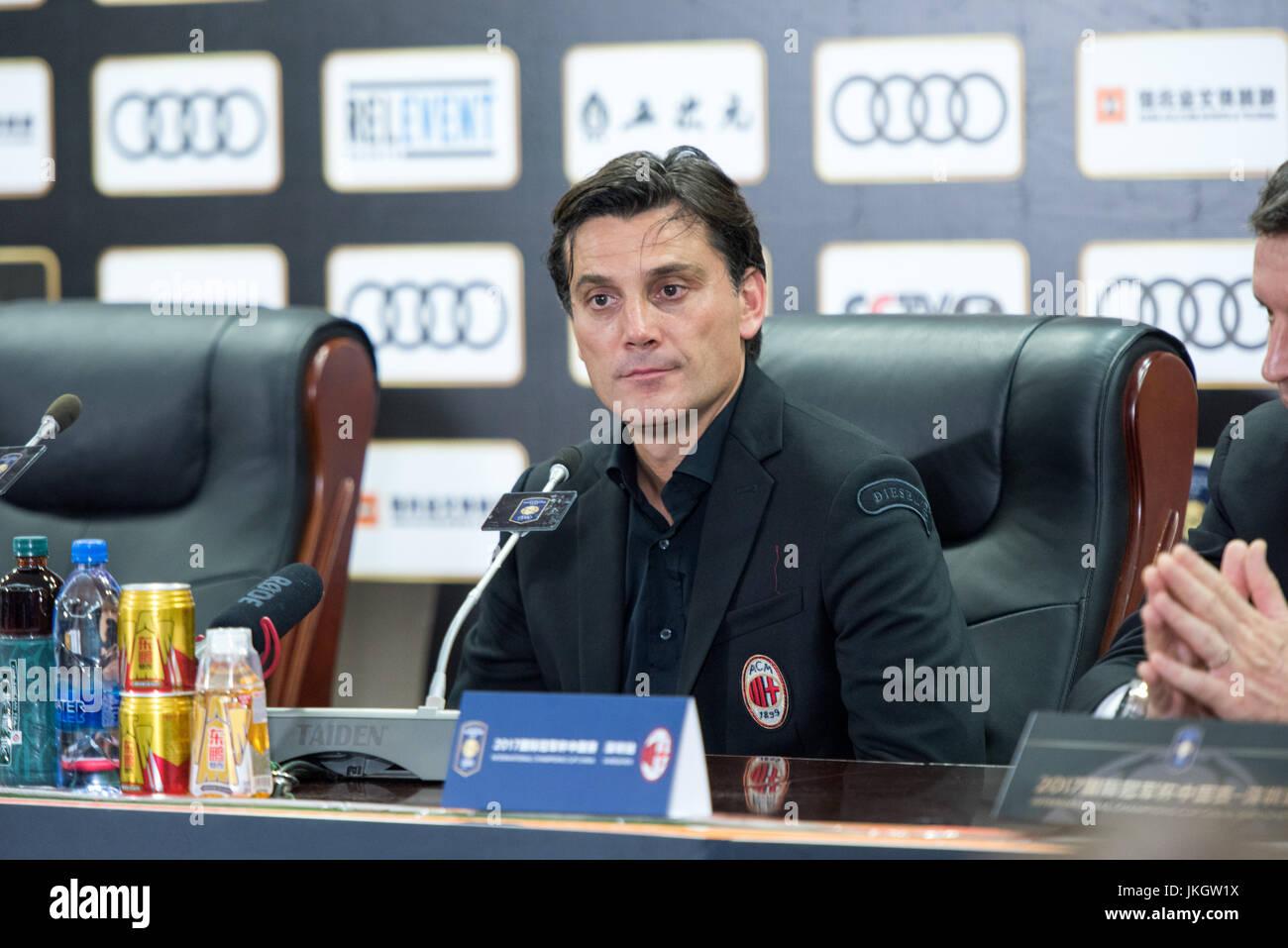SHENZHEN, CHINA -JULY 22: AC Milan Coach Vincenzo Montella speaks at post match press conference.Bayern Munich vs - Stock Image