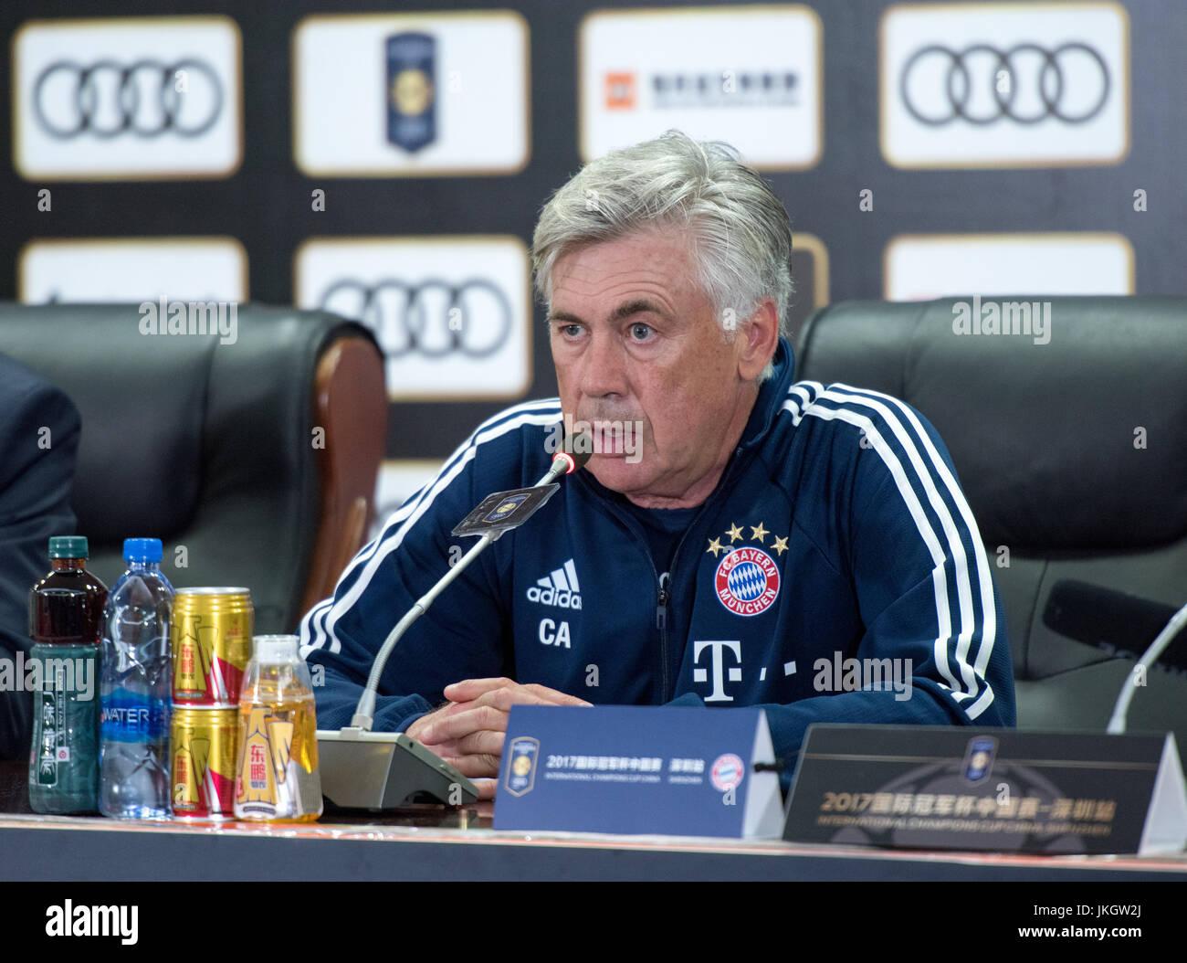 SHENZHEN, CHINA - JULY 22: FC Bayern Munich coach Carlo Ancelotti speaks at the post match press conference- Bayern - Stock Image