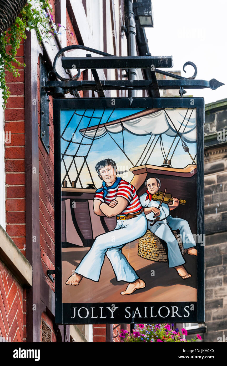 Sign for the Jolly Sailors pub in Whitby. Stock Photo