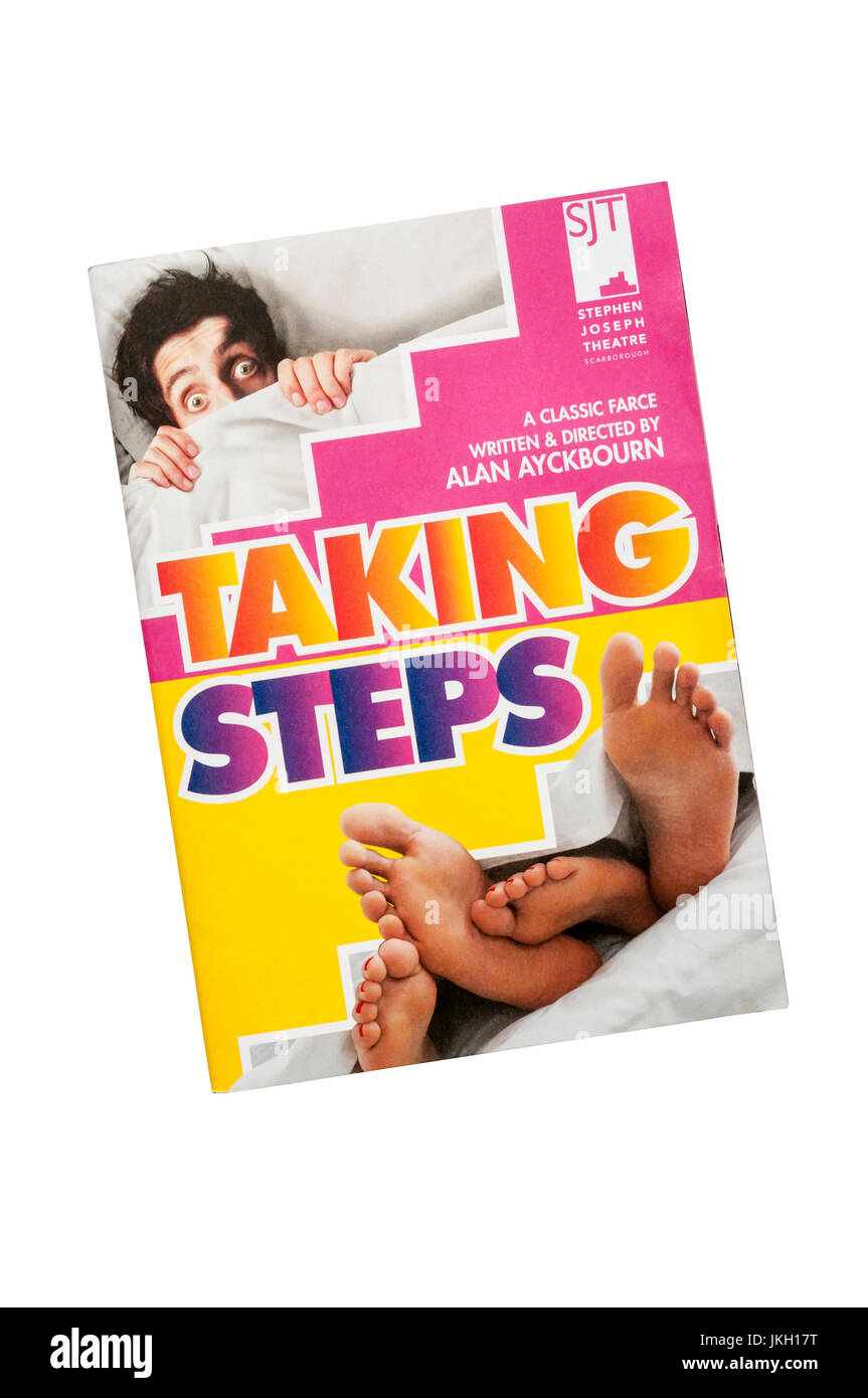 Programme for 2017 production of Taking Steps by Alan Ayckbourn at the Stephen Joseph Theatre in Scarborough. - Stock Image