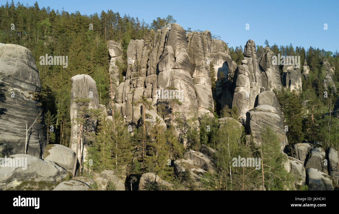 Aerial view of Unusual stone cliffs in Bohemia Czech Republic - Stock Image