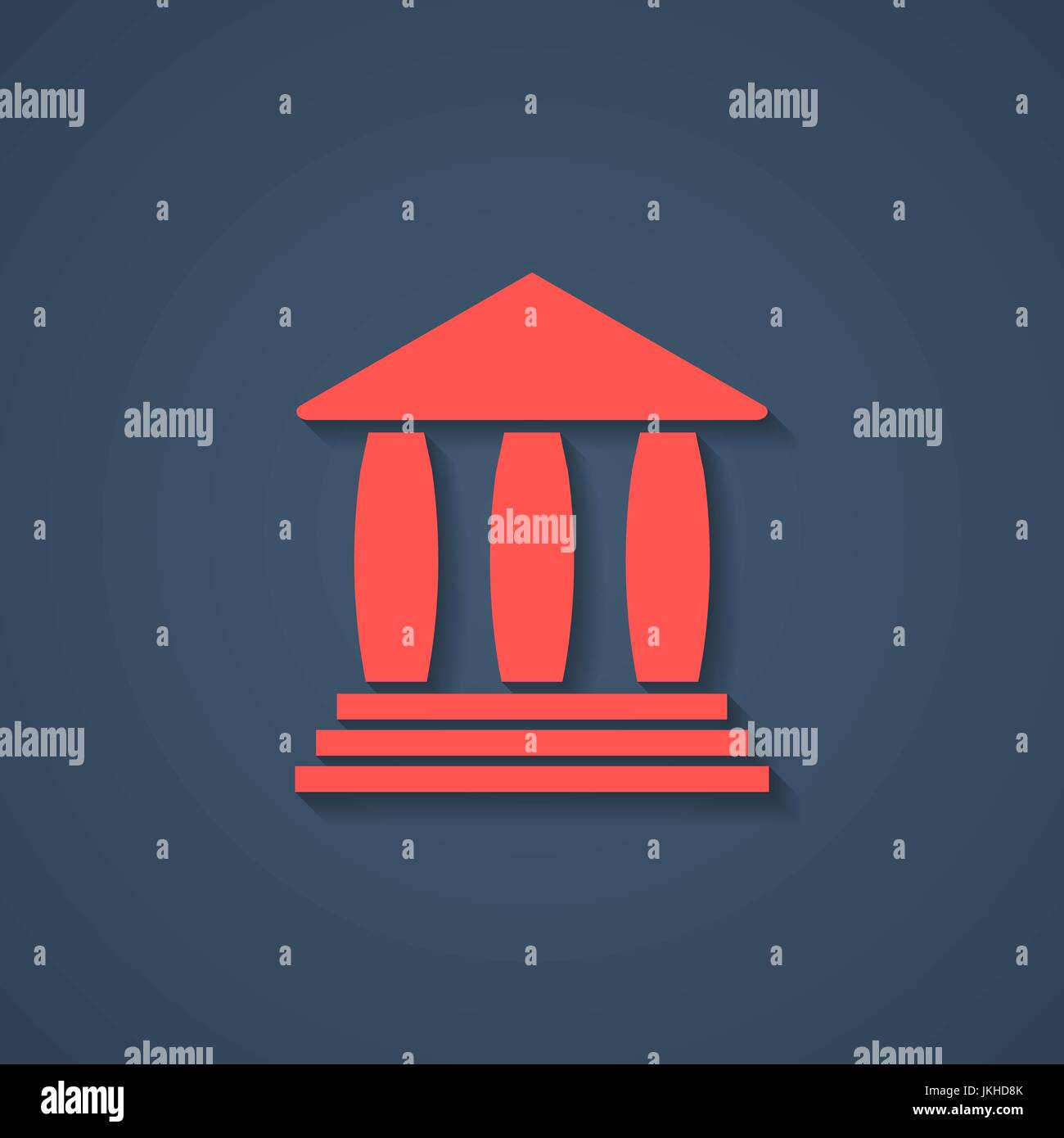 red bank or greek colonnade icon with shadow - Stock Vector