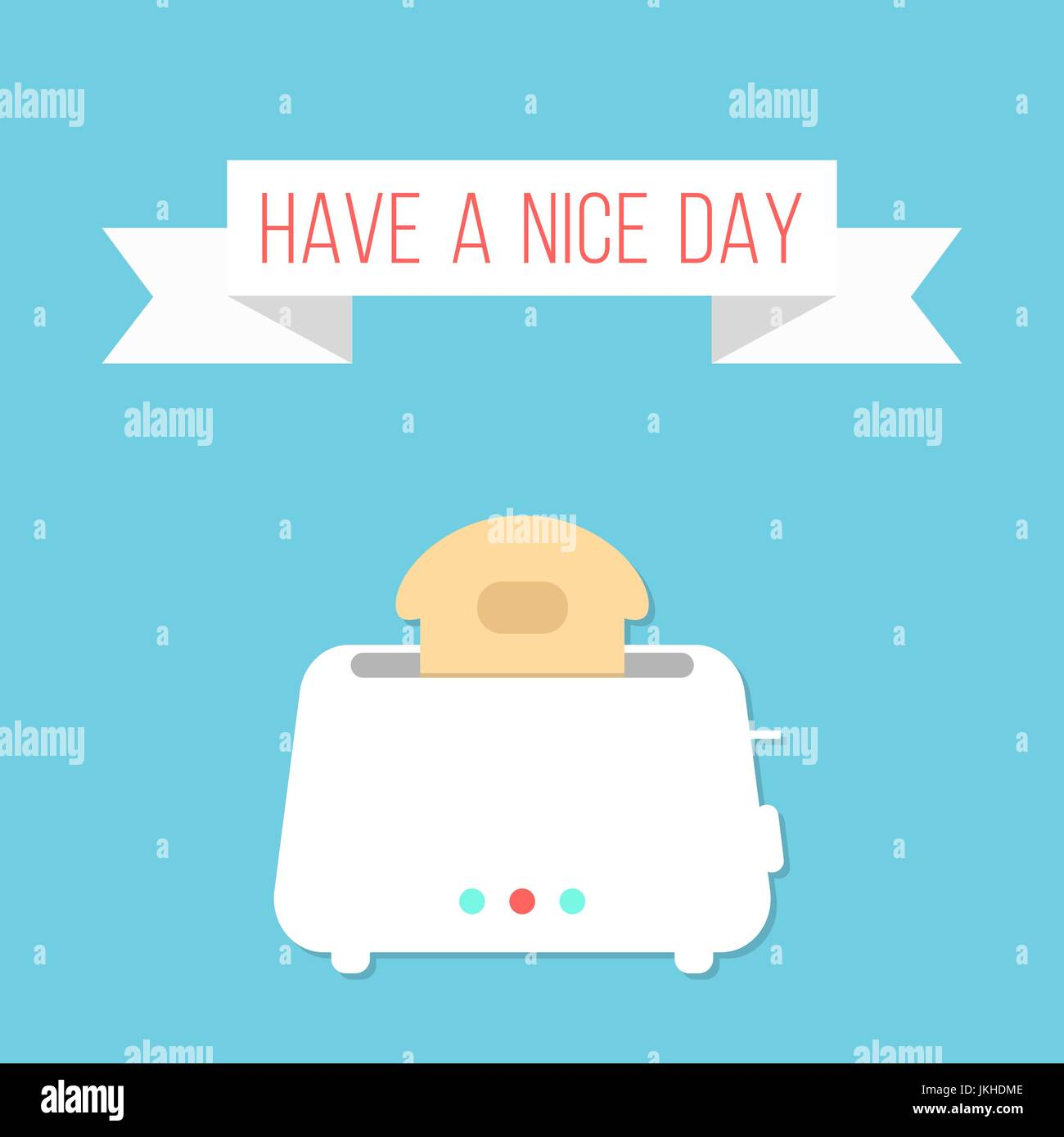 white toaster with ribbon and have a nice day inscription - Stock Vector
