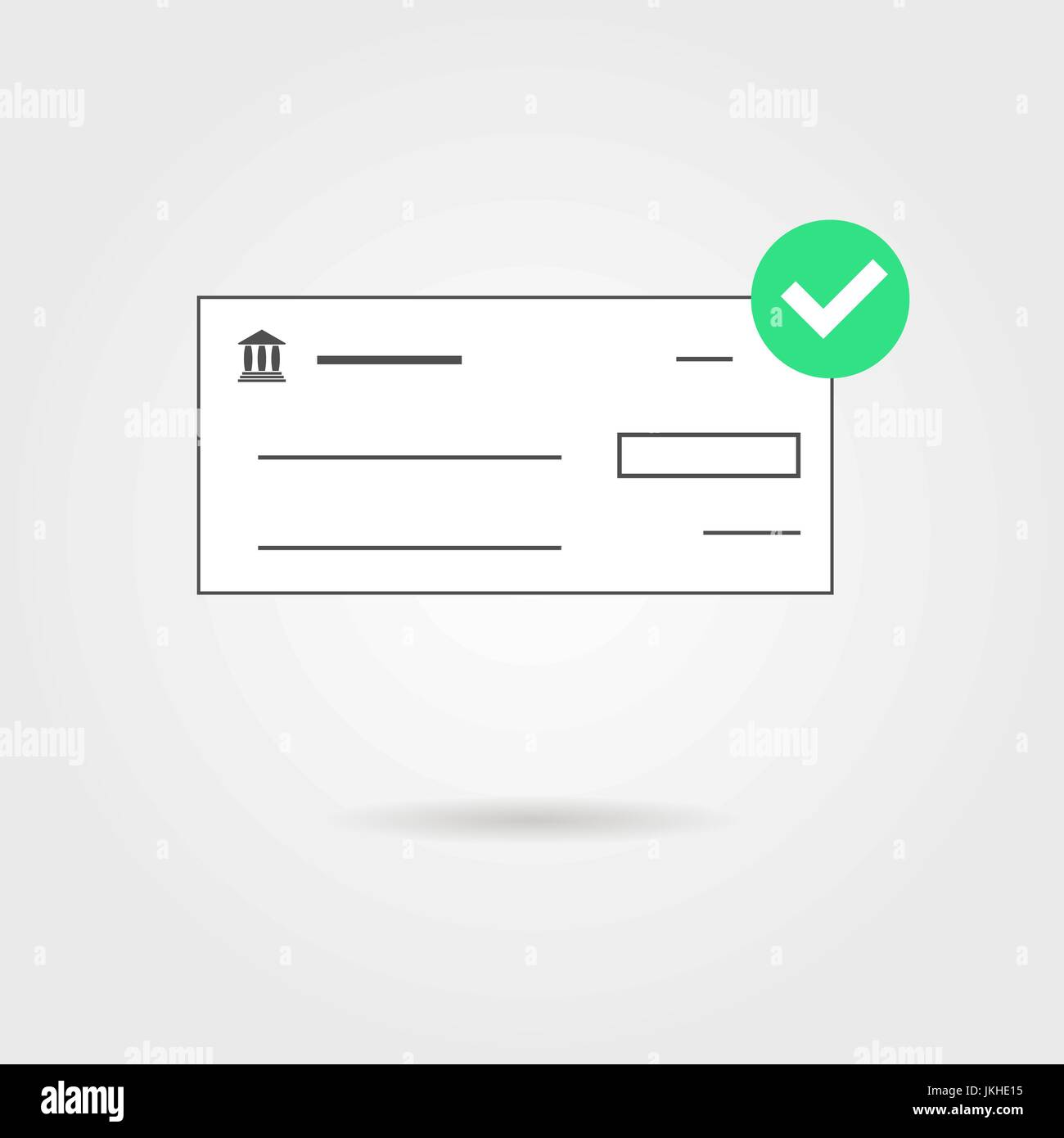 bank check with green check mark icon and shadow - Stock Vector