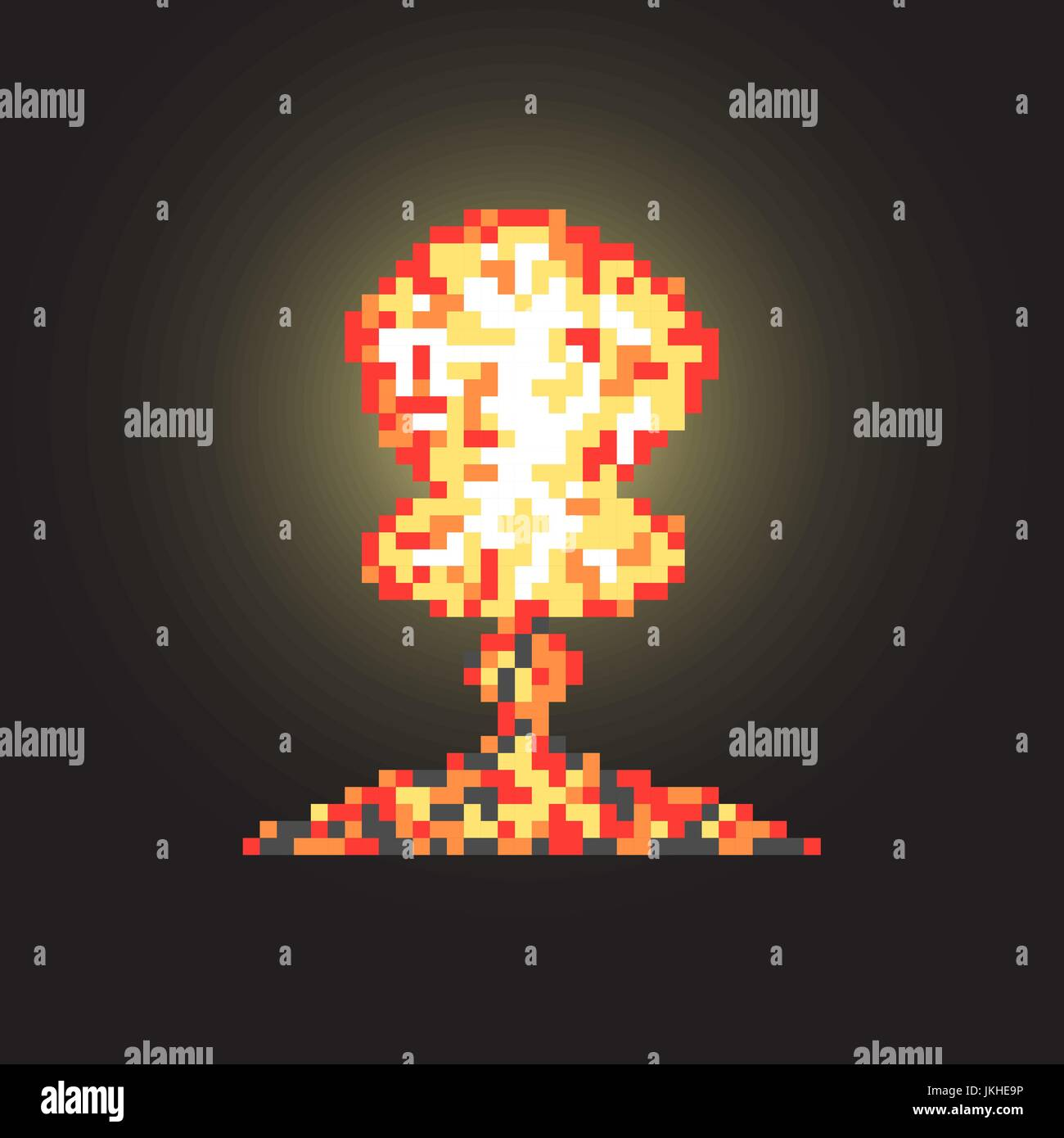 colored atomic explosion in pixel art with flash Stock Vector