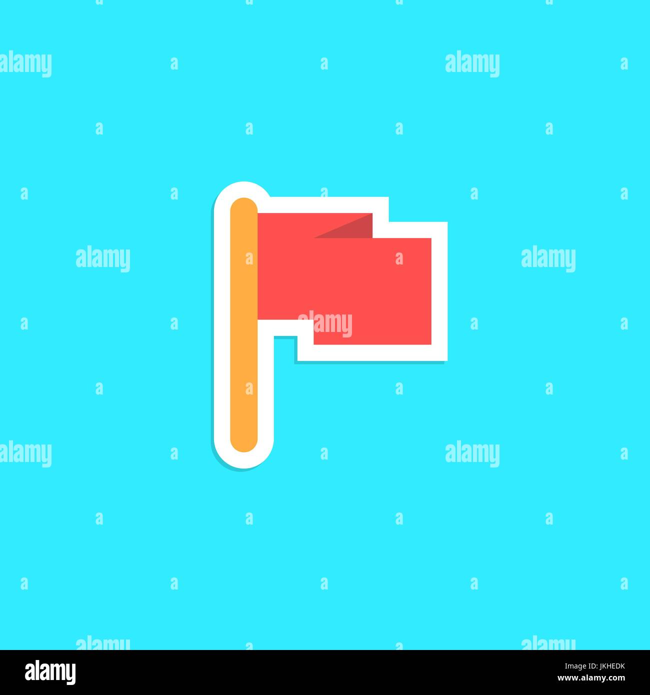 red flag icon sticker isolated on blue background Stock Vector Art