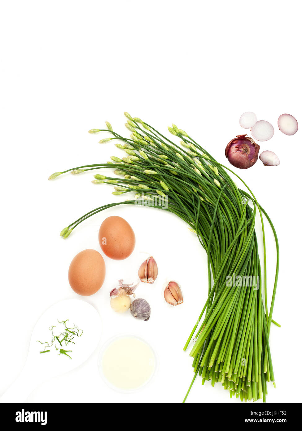 Garlic chives stir prepare with eggs garlic and mixers food menu Thai food and asian healthy food - Stock Image