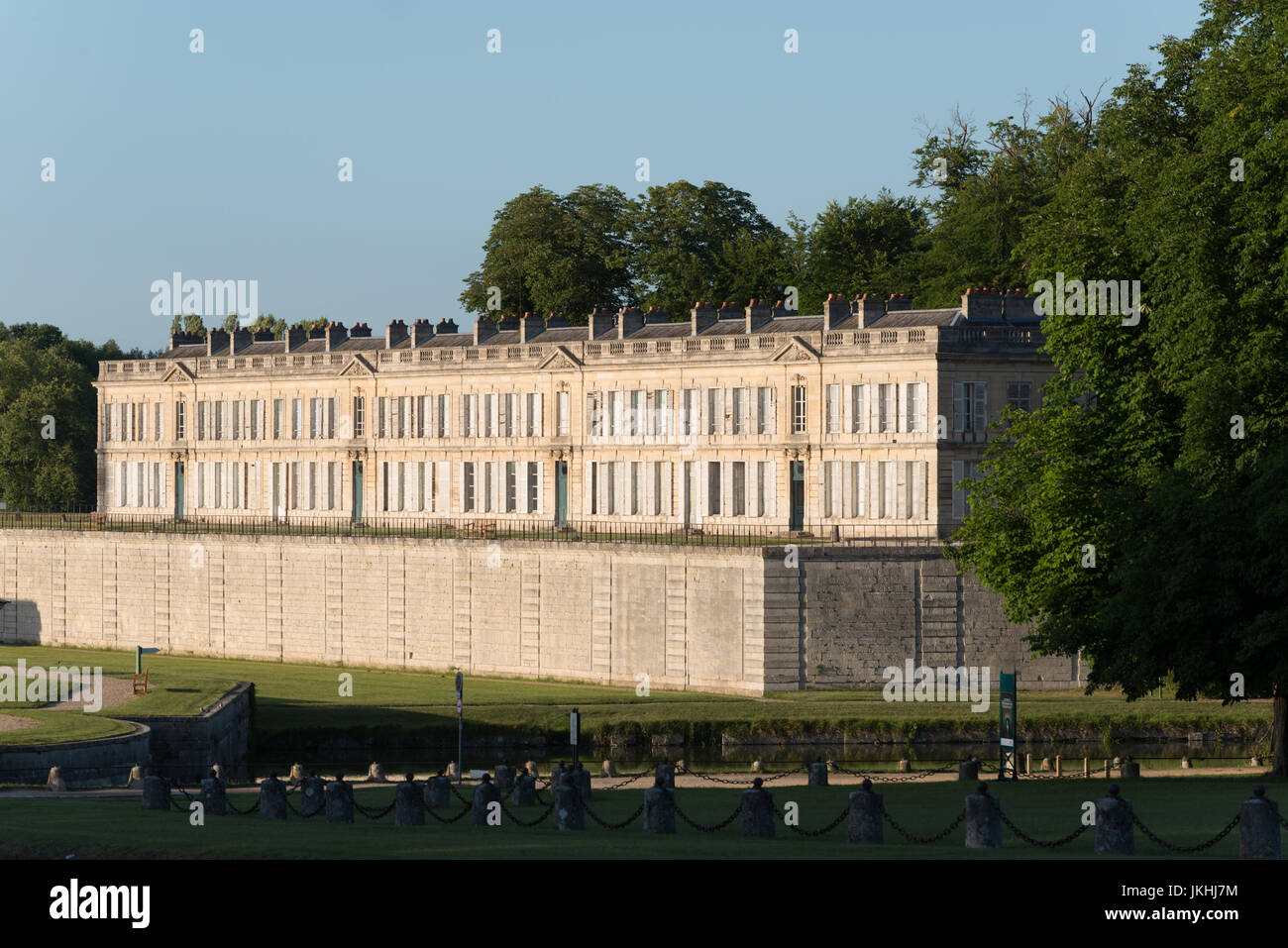 Chateau de Chantilly park and garden with stables in the north of Paris, France - Stock Image