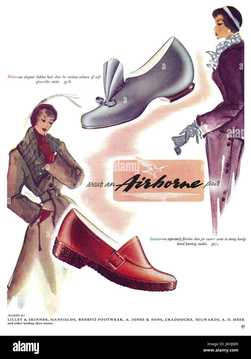 1950 British advertisement for Airborne Shoes. - Stock Image