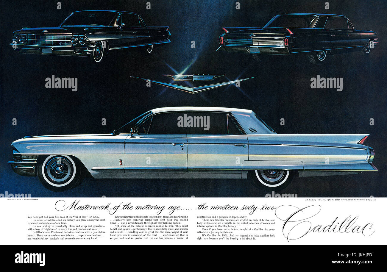 1961 U.S. advertisement for the 1962 Cadillac, illustrated by Ross Cousins. - Stock Image