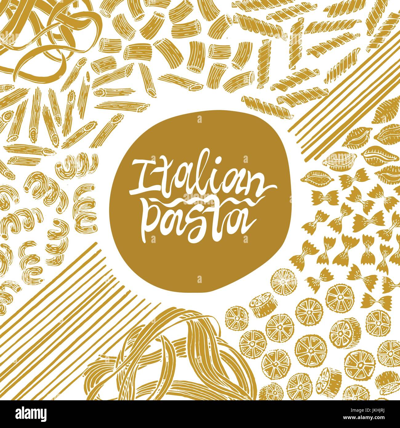 Different kinds of Italian pasta banner. Fettucine, conchiglie, fusilli, cellentani, vermicelli, tagliatelle pipe Stock Vector