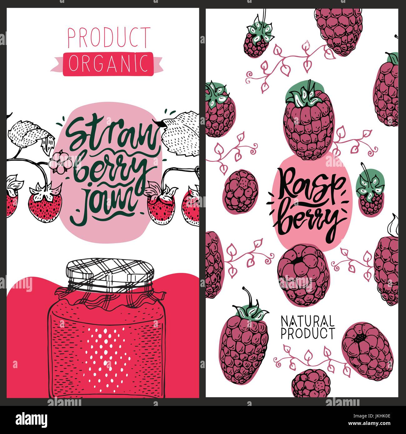 raspberry and strawberry banners set of cute creative card