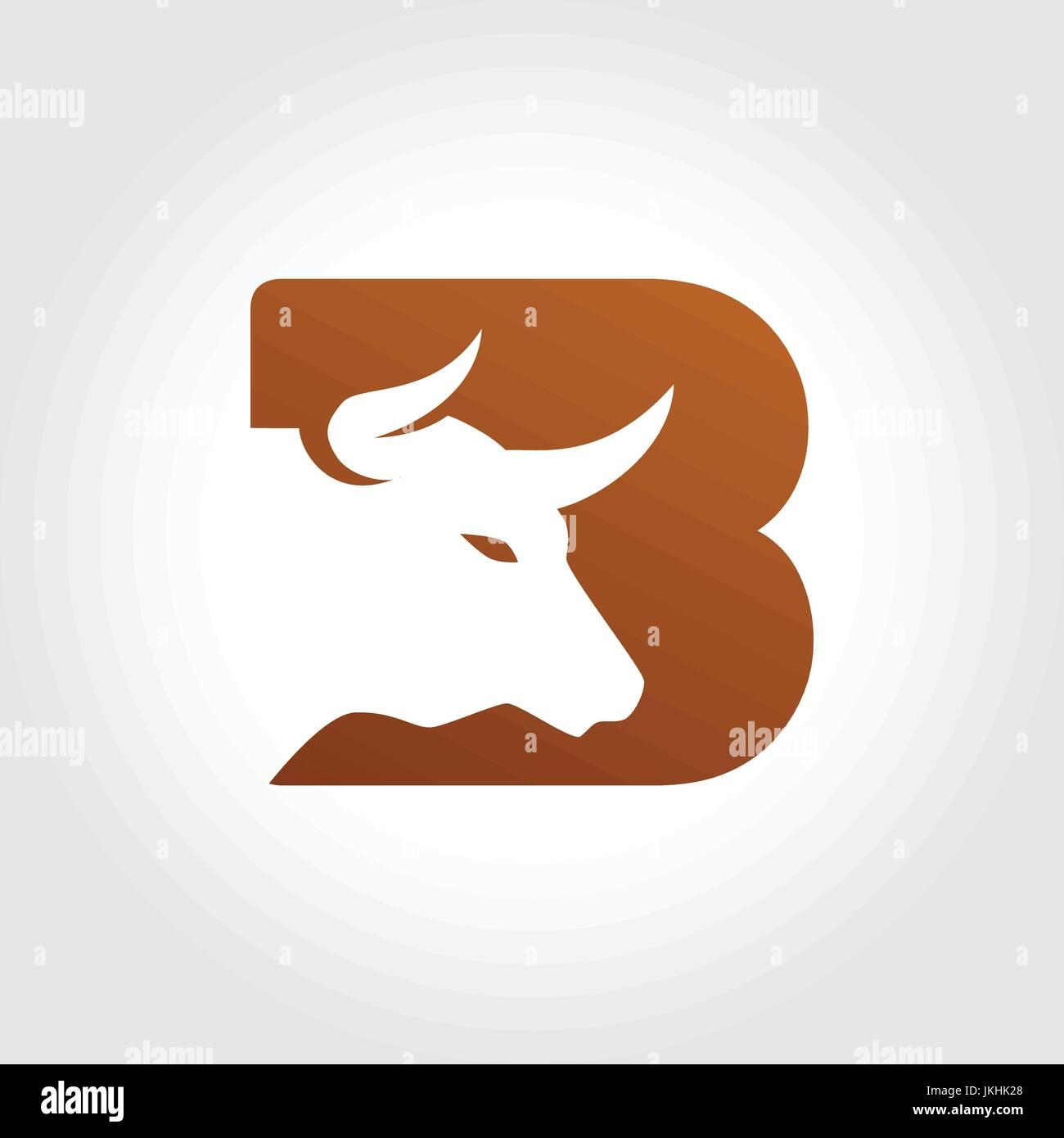 Letter B Symbol with Bull Head Silhouette Design Stock Vector Art