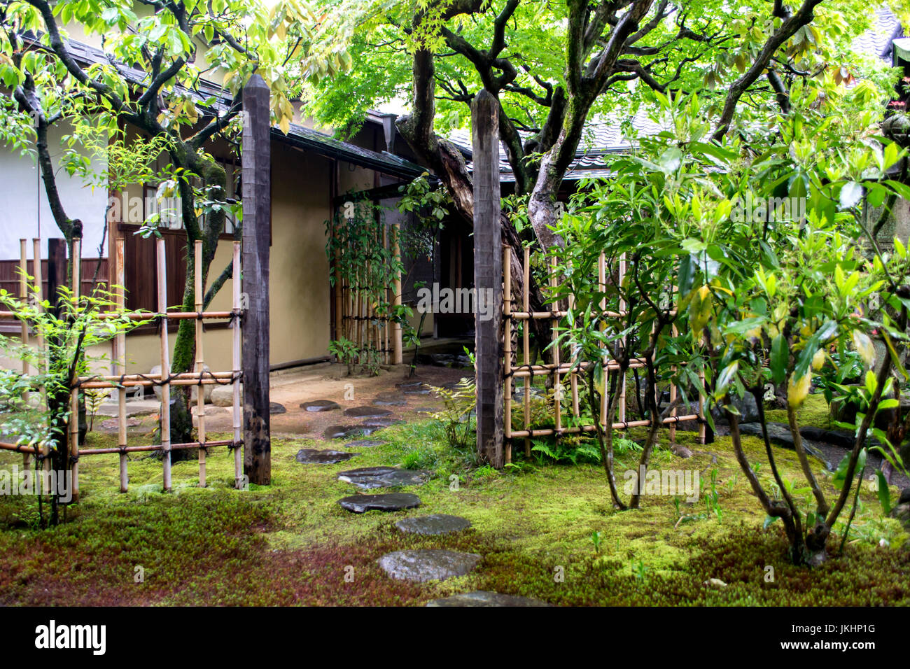 Garden Path in Kyoto, Japan - Stock Image