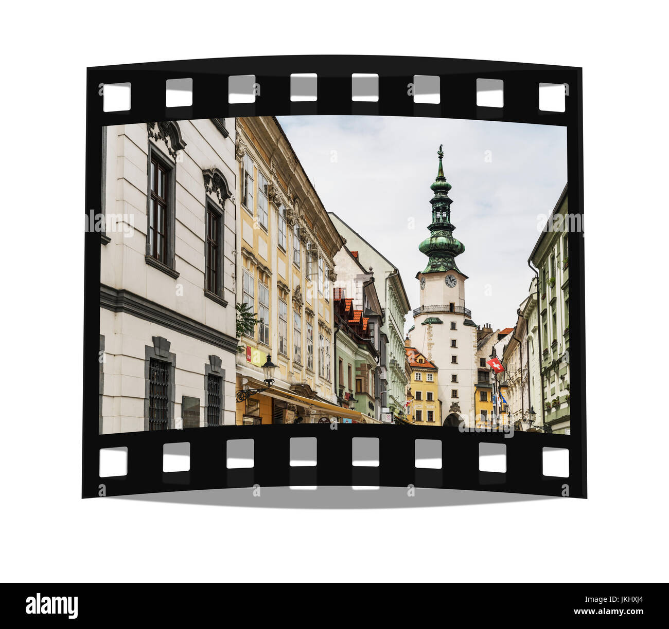 Michaels Gate is the only city gate preserved of the medieval fortifications of Bratislava and is one of the oldest - Stock Image
