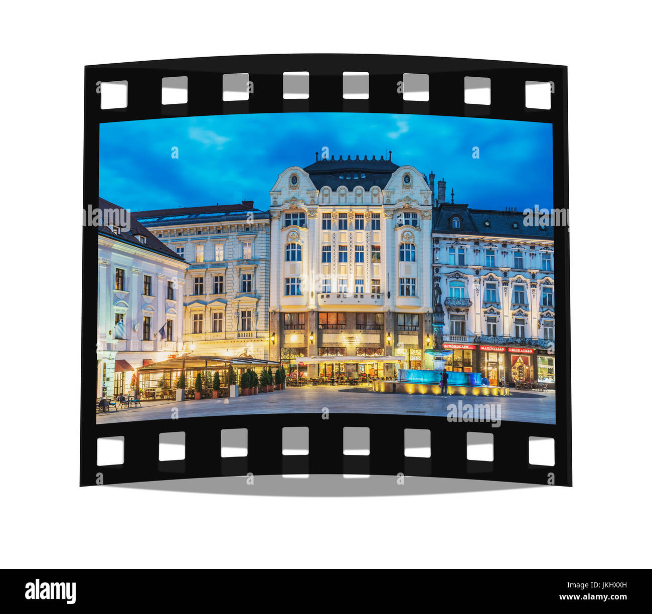 West side of the Main Square, Hlavne namestie, in the evening, Bratislava, Slovakia, Europe - Stock Image