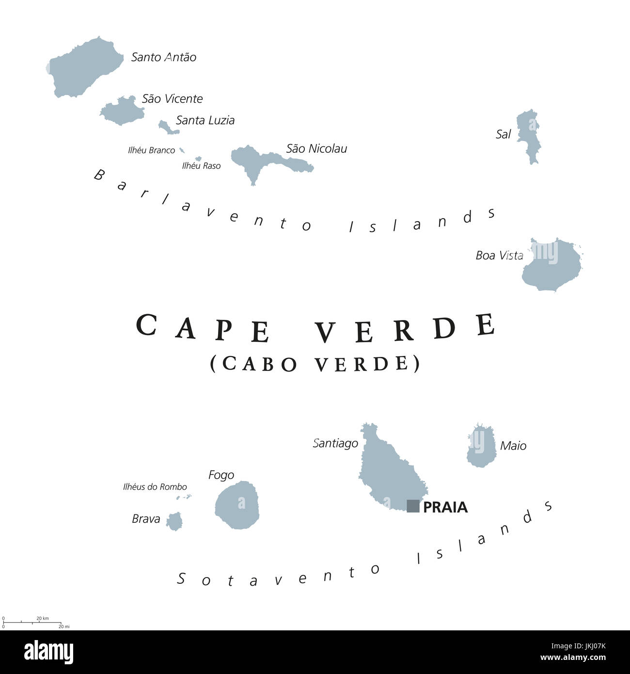 Cape Verde political map with capital Praia. Republic and island ...