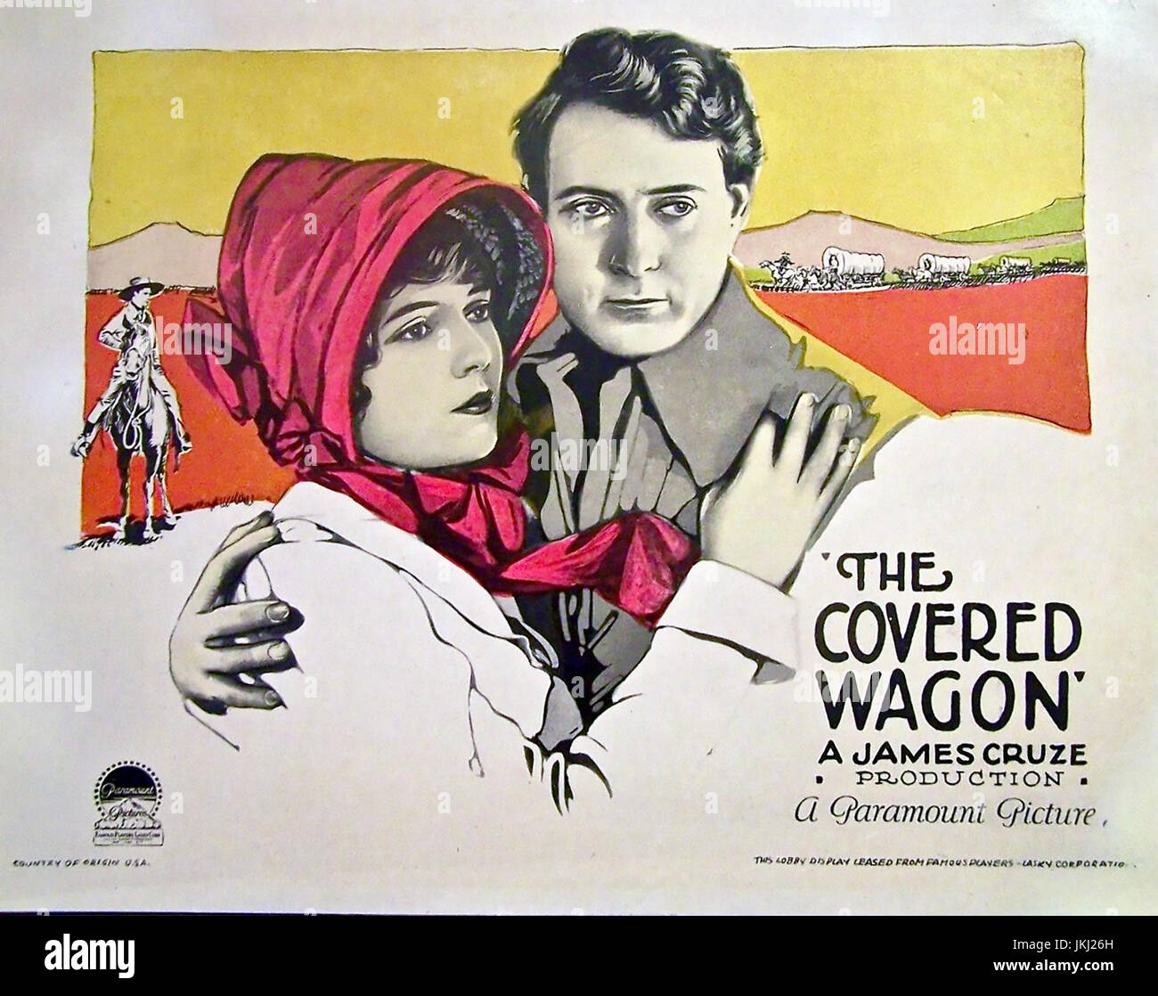 THE COVERED WAGON 1923 Paramount Pictures silent film with Lois Wilson and J. Warren Kerrigan - Stock Image