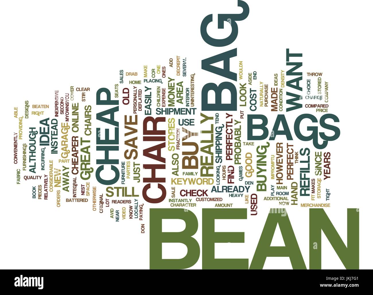 FIND THAT PERFECTLY CHEAP BEAN BAG CHAIR Text Background Word Cloud Concept - Stock Vector