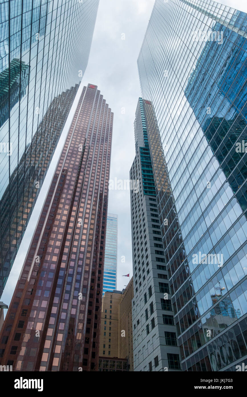 Bank towers and financial institutions occupy the skyscrapers in Toronto's Bay Street business district. - Stock Image
