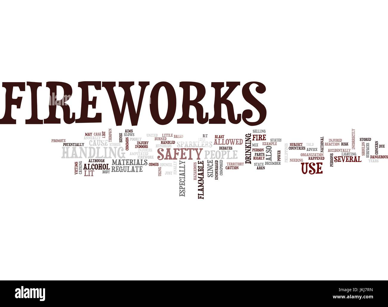 FIREWORKS SAFETY Text Background Word Cloud Concept - Stock Vector