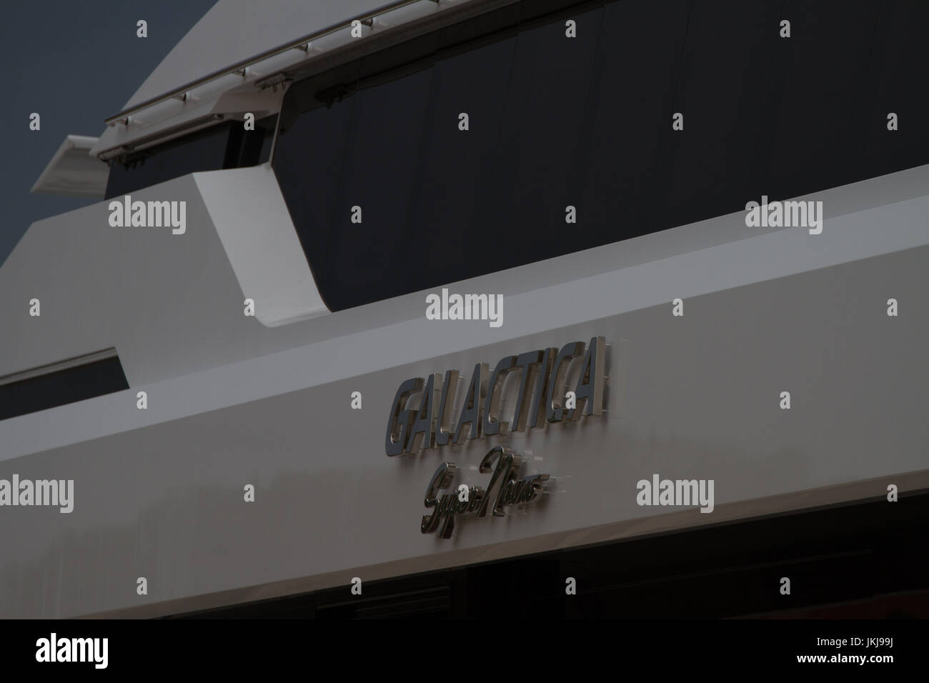 Name on side of Galactica a multimillion dollar yaght at Venice. Italy - Stock Image