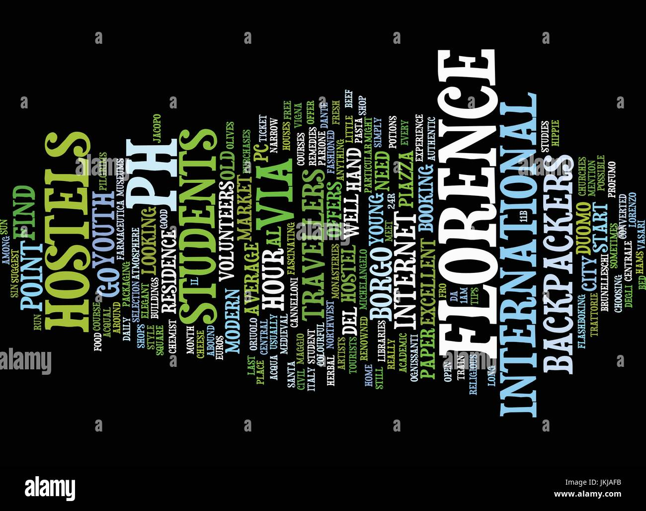 FLORENCE FOR YOUNG TRAVELLERS Text Background Word Cloud Concept - Stock Vector