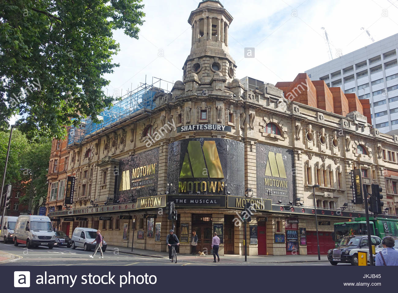 Front view of the Shaftesbury Theatre in Shaftesbury Avenue London UK - Stock Image
