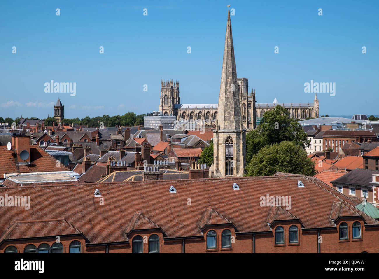 The view from Cliffords Tower in the historic city of York in England.  The view includes York Minster, St. Mary's - Stock Image