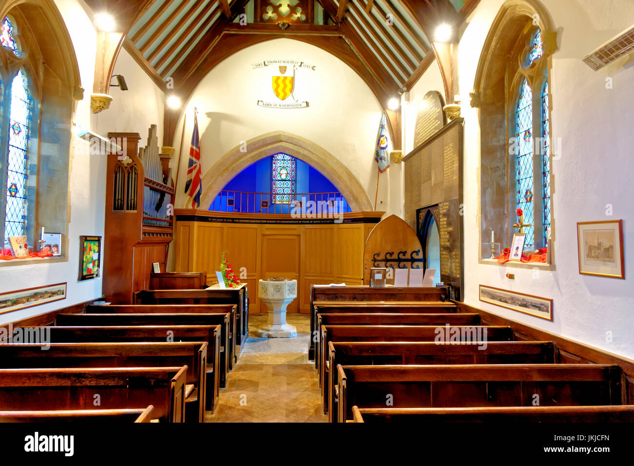 An interior view of St Lawrence Chapel in Warminster, Wiltshire, United Kingdom. Stock Photo