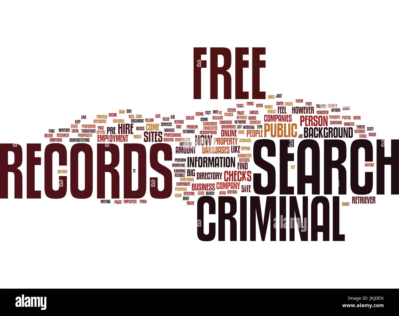Free Criminal Record Check >> Free Criminal Records Search Text Background Word Cloud Concept