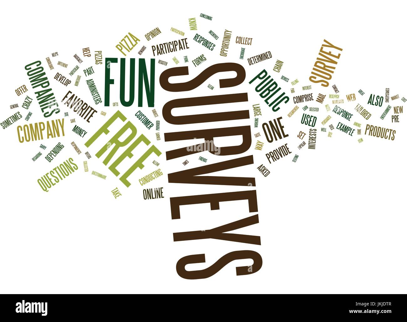 FREE FUN SURVEYS Text Background Word Cloud Concept - Stock Image