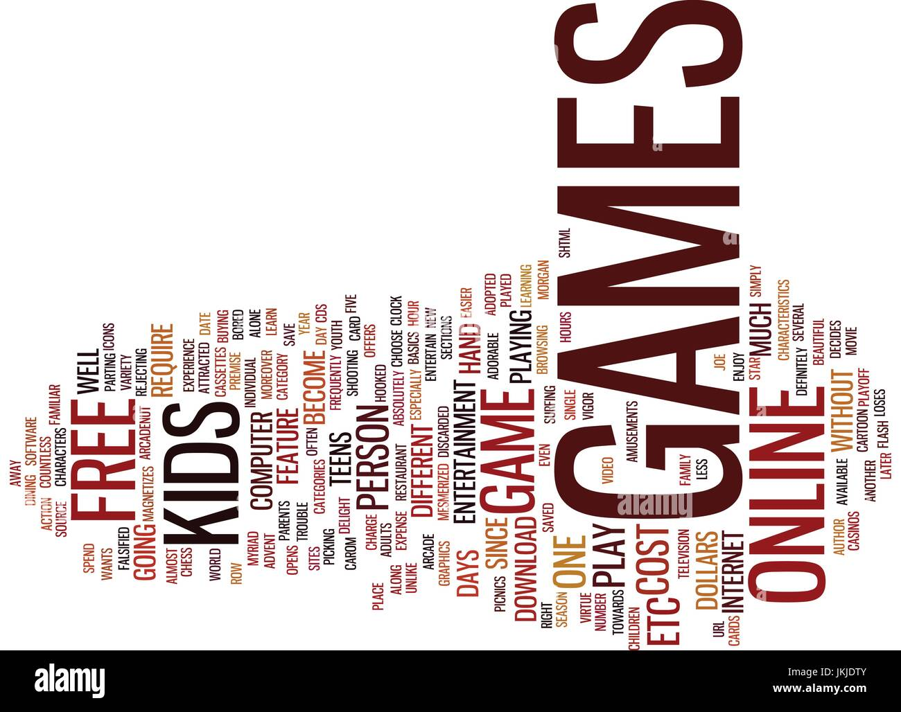 FREE GAMES Text Background Word Cloud Concept Stock Vector
