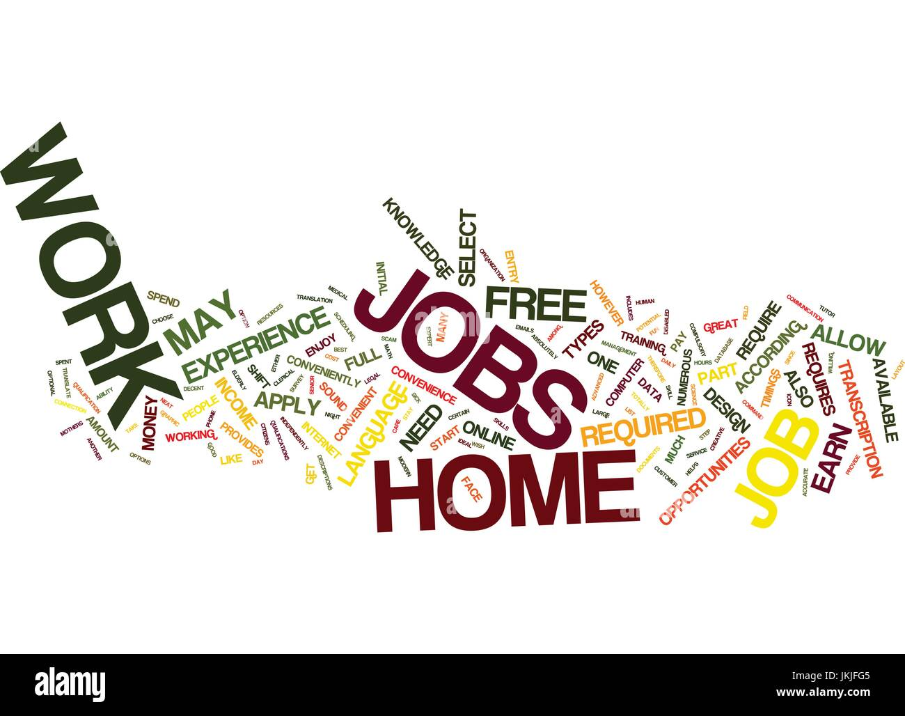FREE WORK AT HOME JOBS Text Background Word Cloud Concept Stock ...