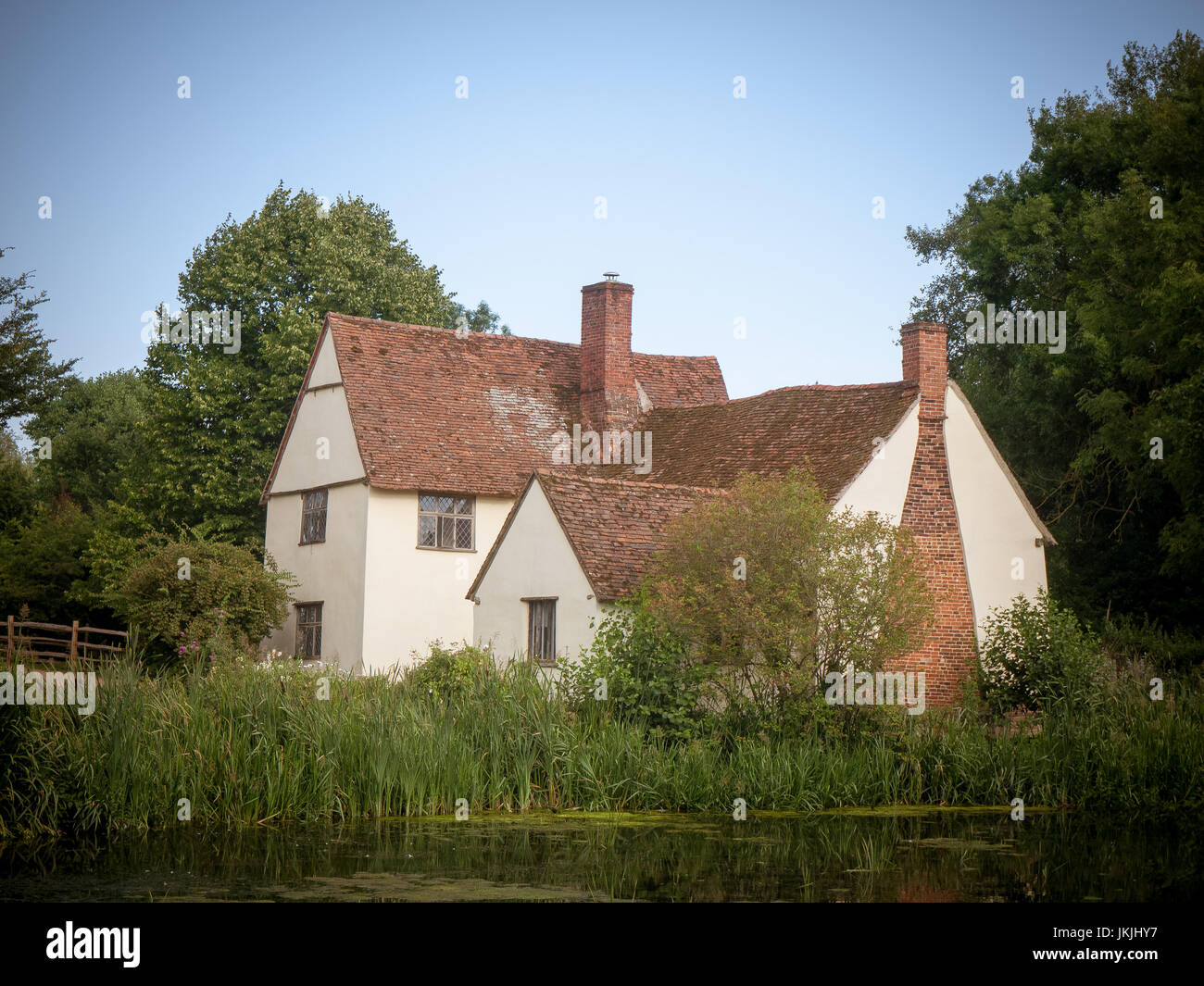 vintage impression of willy lotts' cottage on a summer's day in constable country; Suffolk; England; UK - Stock Image