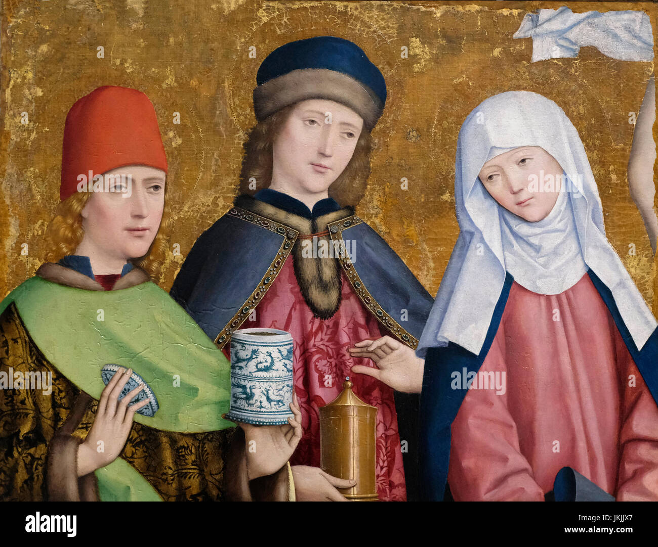Saints Cosmos and Damian and the Virgin, circa 1470 - Master of Liesborn - Stock Image