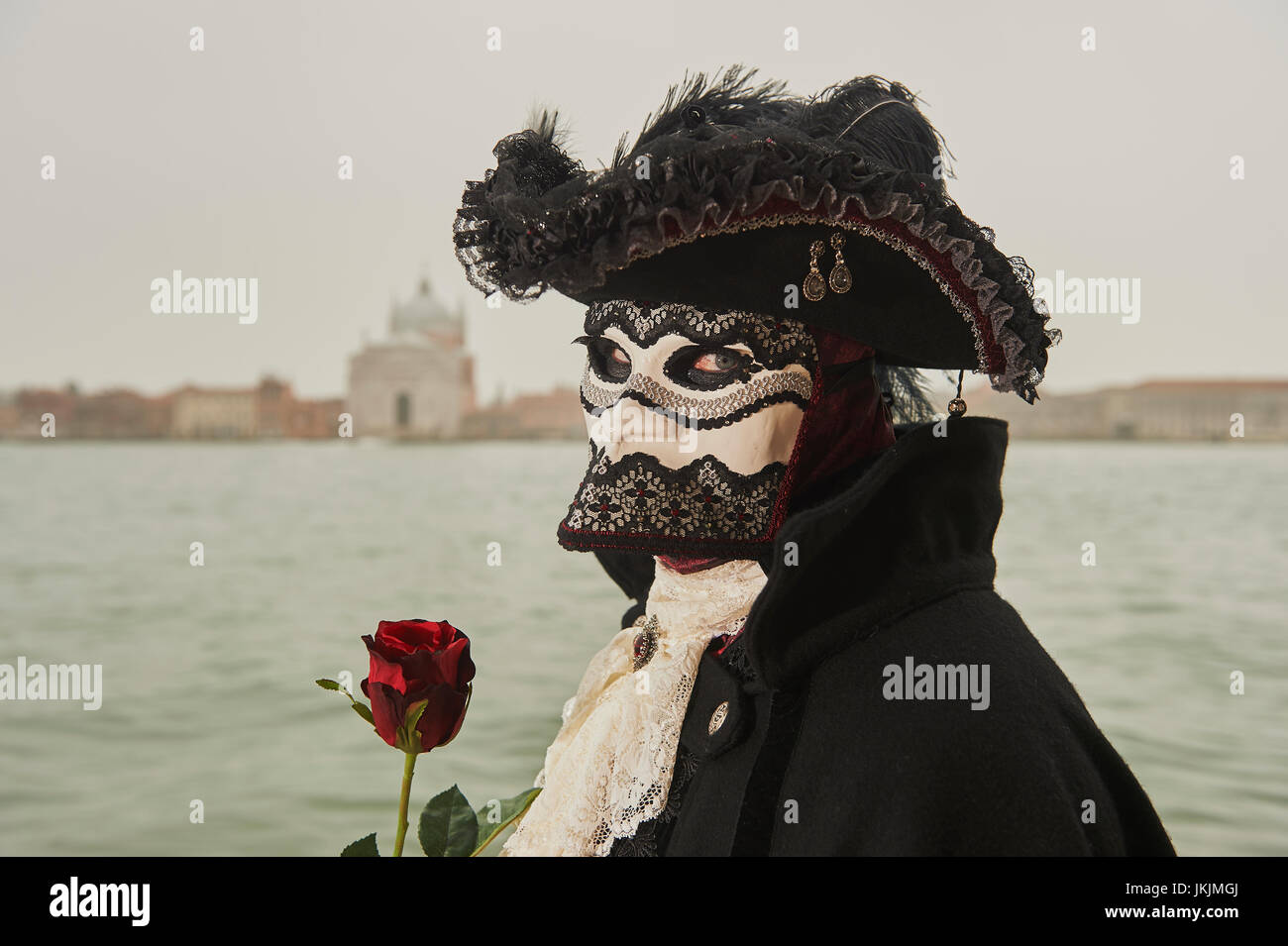 Female Bauta Mask with Coat Stock Photo