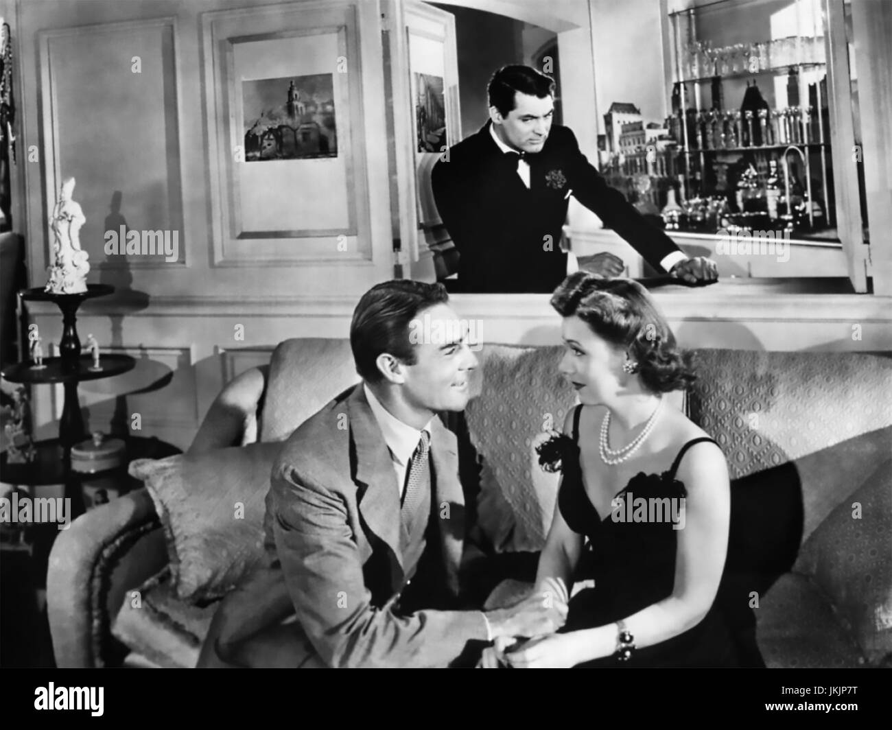 MY FAVOURITE WIFE (aka My Favorite Wife) 1940 RKO Radio Pictures film with from left: Randolph Scott, Cary Grant, - Stock Image